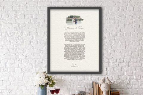 Photo and Wedding Vows, Paper Anniversary Gift, Framed Wedding Vows, Gift for 1st Anniversary, First Wedding Annivesary Paper Gift, 1 year