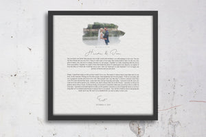Gift for Wife, Printed Wedding Vows , Framed Wedding Vow, Photo with Vows, Personalized Anniversary Gift, Gift for Bride from Groom