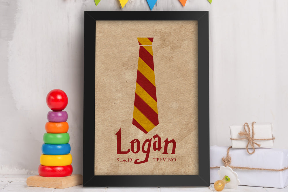 Custom Name Sign, Baby Room Decor, Wizard School Sign, Name and Birthday Art for Nursery, Little Boy's Bedroom Art, Name Print for Kids Room