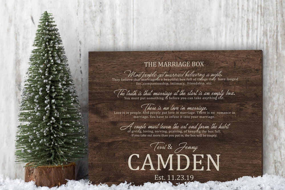 Marriage Box Poem, Personalized Wedding Gift with Names, Marriage box on Canvas, Rustic personalized wedding gift,