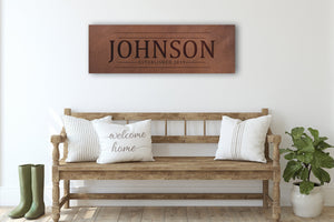 Custom Name Sign, Personalized Wedding Gift, Faux Leather Anniversary Gift, Rustic Wedding Gift, Name Sign on Canvas, Established Sign