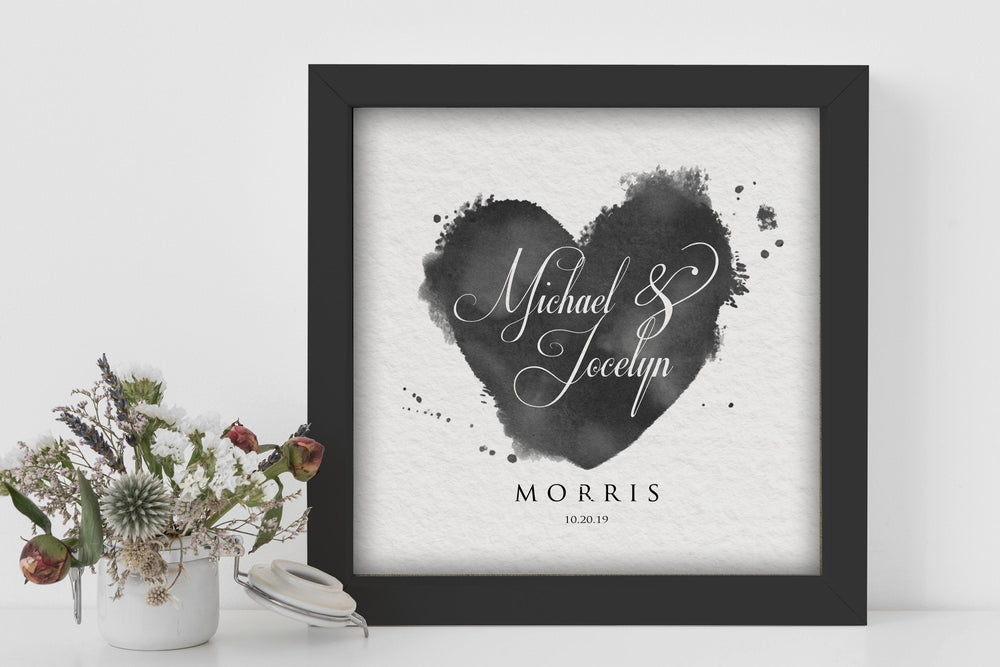 Paper Anniversary Gift, Paper Gift for Wife, Personalized Wedding Date Art,Bride and Groom Names Printed ,Framed Wedding Date, 1 Year Gift