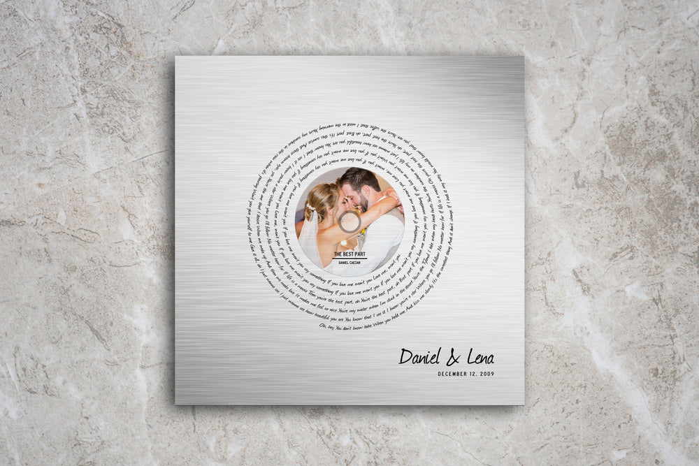 1st Dance on Tin, Song with Photo, Tin Anniversary Gift , Wedding Song Print, on Metal, On Metal, 10th Anniversary Gift, Tin Gift for Her