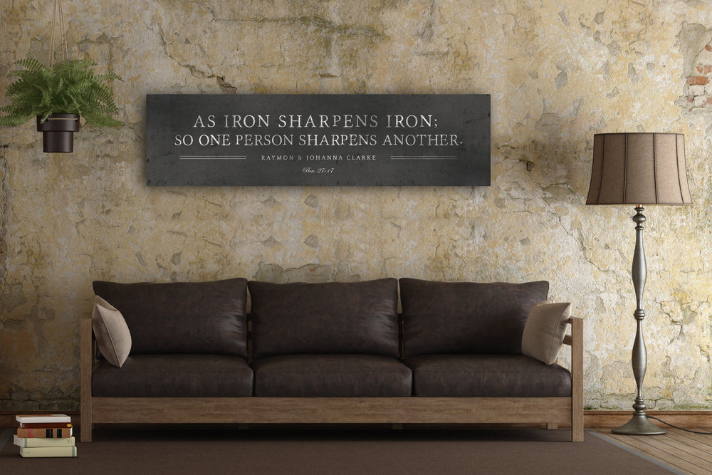 Iron Sharpens Iron Sign, Custom Wedding Gift, Religious Wedding gift, 6th Anniversary, Gift Metal Print, Prov 27:17, Iron Anniversary Gift