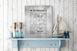 10 Commandments Sign, Scripture Sign, Religious Wall decor, Gift for pastor, House warming gift, Husband gift, Christian gift for men, Tin