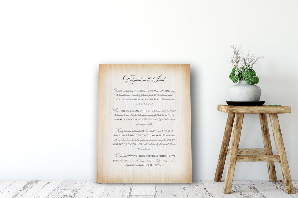 Footprints poem, Footprints in the Sand on Wood, Whitewash Footprints Poem, Wood Gift, 5 Year Wedding Anniversary Gift, Wood gift for wife