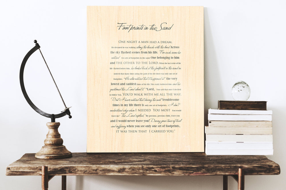 Footprints poem, Wood gift for him, Footprints in the Sand on Wood, Wood Gift, 5 Year Wedding Anniversary Gift, Wood gift for Him,