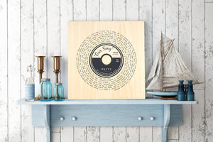 Wood Anniversary Gift, 5 Year Wedding Anniversary Gift, Wedding Song on Wood, Lyric Record Print, Wood gift for men, 5th Anniversary Wood