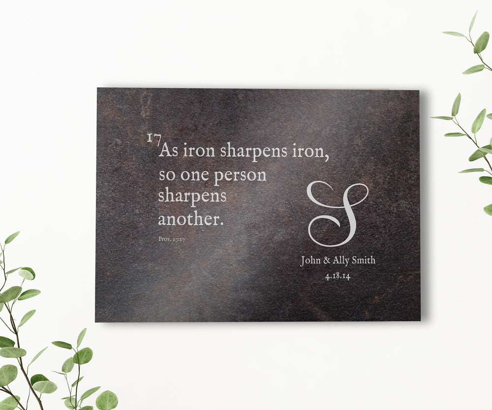Iron Anniversary Gift, As Iron Sharpens Iron Sign, 6th Anniversary Gift, Iron Gift for men, Prov 27:17 Metal sign, 6 Year Anniversary gift