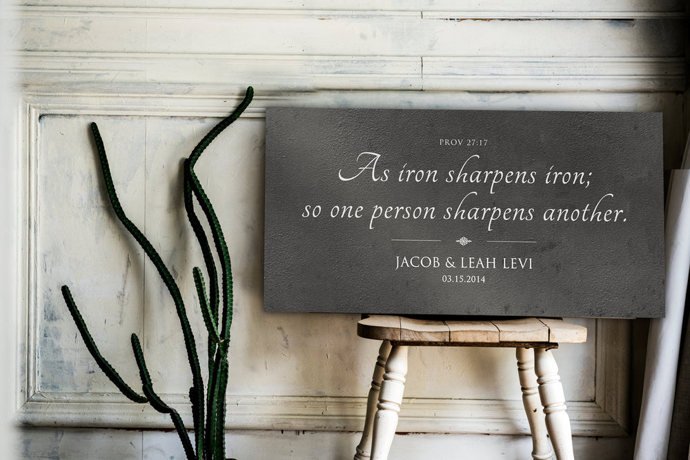 Christian Wedding Gift, Personalized Anniversary Gift, Iron Sharpens Iron Sign, 6th Wedding Anniversary Gift, Tin Gift, Gift for Couple