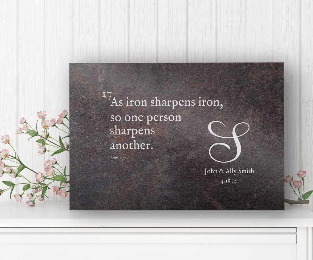 Christian Wedding Gift, with Bible verse, As Iron Sharpens Iron, 6 Year, Iron Gift, Prov 27:17 Sign, Iron Anniversary gift, Gift for Couple