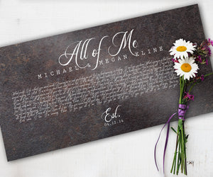 6th Anniversary Gift, Wedding Song on Iron, 6 Year Wedding Anniversary Gift for Husband, Song on Metal, First Dance Song Print, Gift on Iron
