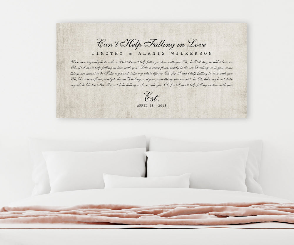 Wedding Song on Cotton, 2 Year Anniversary Gift, For Her, Lyrics on Canvas, First Dance Song Print, 2nd Anniversary Gift, Gift on Cotton