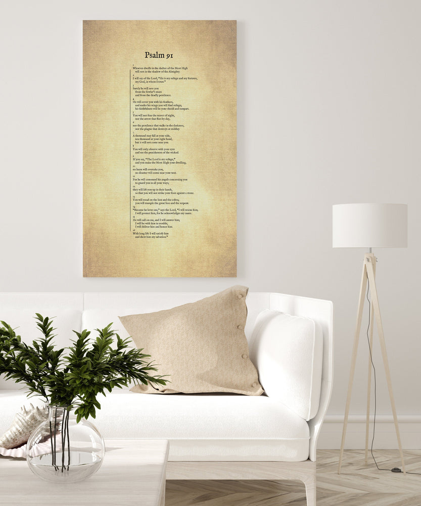 Psalm 91 on Canvas, Christian Wall Art, Inspirational Decor, Scripture Decor, Encouragement Gift, Gift for Mom, Sympathy Gift, Uplifting