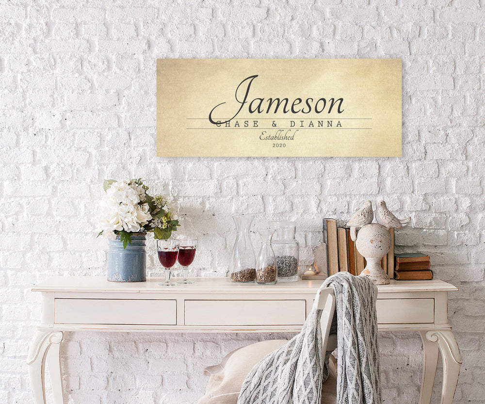 Established Sign, Family Name Sign, Cotton Anniversary Gift, Personalized Name Canvas, Custom Name Sign, Canvas Name Sign, Established date