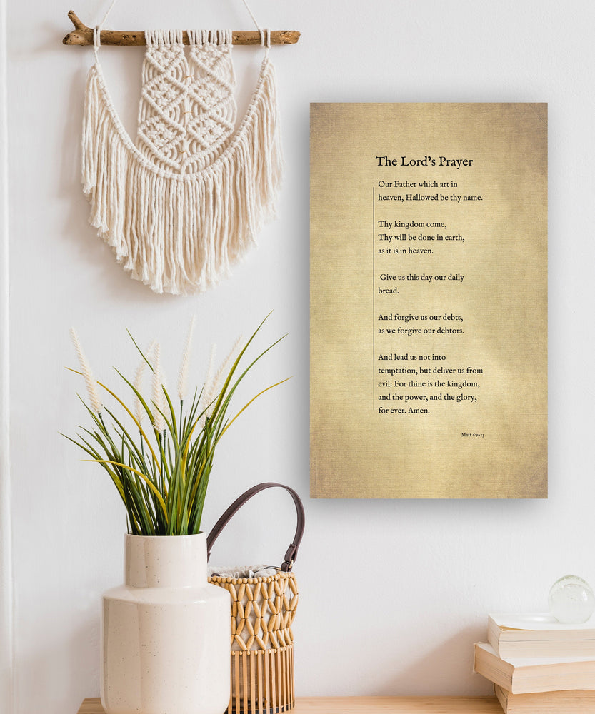 The Lord's Prayer on Canvas, Christian Wall Art, Inspirational Decor, Encouraging Gift, Gift for Mom, Sympathy Gift for, Uplifting Gift for