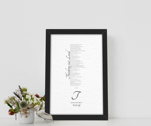 1 Year Anniversary Gift for Wife, 1st Anniversary Gift for Husband, Anniversary Paper Gift, Personalized Anniversary Gift, Wedding Song Gift