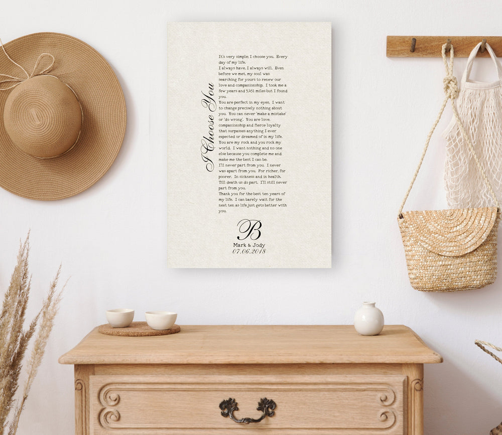Cotton Anniversary Gift, Song Lyrics on Cotton, 2 Year Anniversary Gift, Wedding Anniversary Gift, Our Song on Cotton, 2nd Anniversary