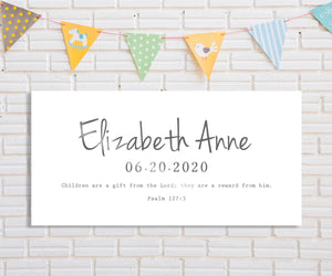Personalized Baby Name Sign, Custom Name Sign, Christian Gift for New Mom, Gift for New Parents, Custom Nursery Decor, Name Sign, New Baby