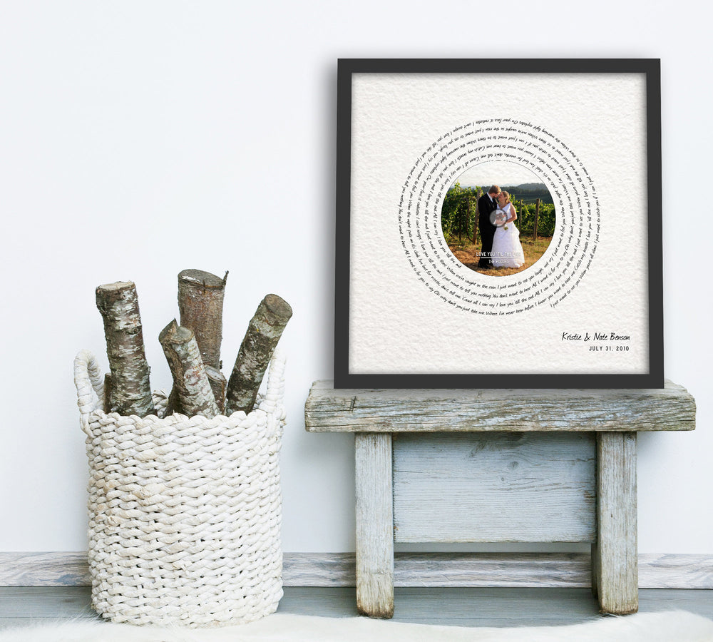 Paper Anniversary Gift, Photo with song, 1 year Anniversary Gift, Framed Song Lyrics, First Dance lyrics, Our Song, 1st Anniversary gift