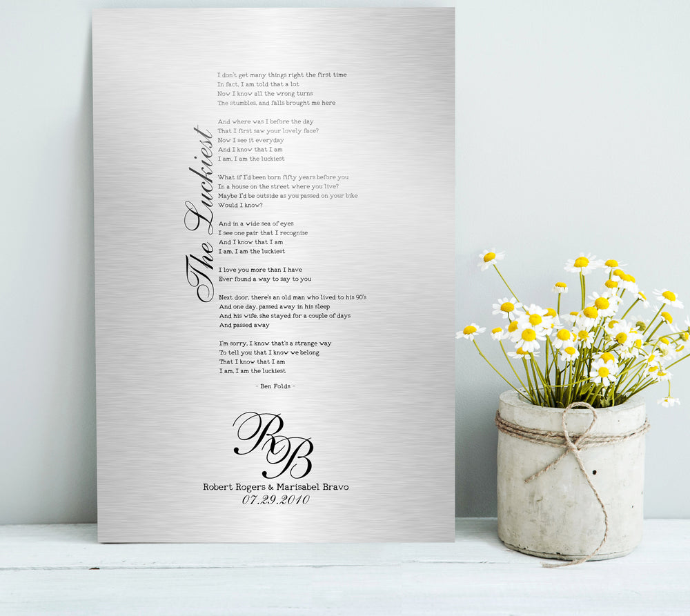 Tin Anniversary Gift, Wedding Song on Tin, Anniversary Tin Gift, 10th Anniversary Gift, Our Song, 1st Dance lyric Gift, Ten Year Anniversary