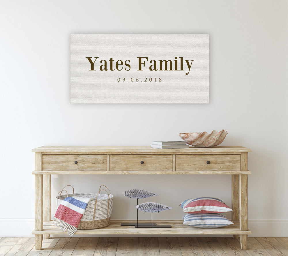 Family Name Sign, Cotton Anniversary Gift, 2 Year Anniversary Gift, Wedding Anniversary Gift, Personalized Family canvas, Cotton gift idea