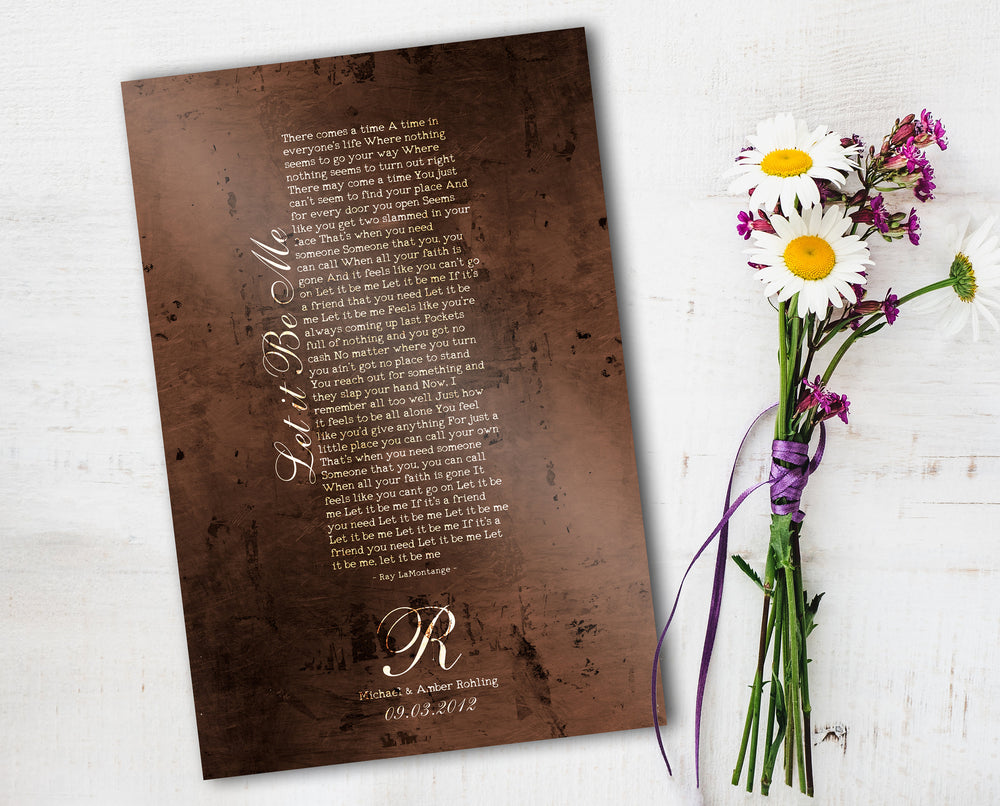 Bronze Anniversary Gift, Wedding Song on Bronze, 8th Anniversary Gift, Our Song, Metal Sign, Personalized Bronze, Eight Year Anniversary