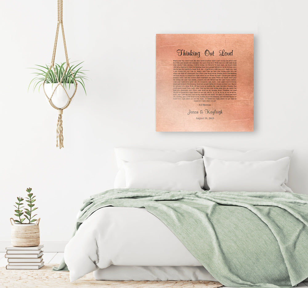 Copper Anniversary Gift, Our Song on Copper, Copper Anniversary gift for women , Our Song, Copper Sign, 7th Anniversary Gift, gift for Her