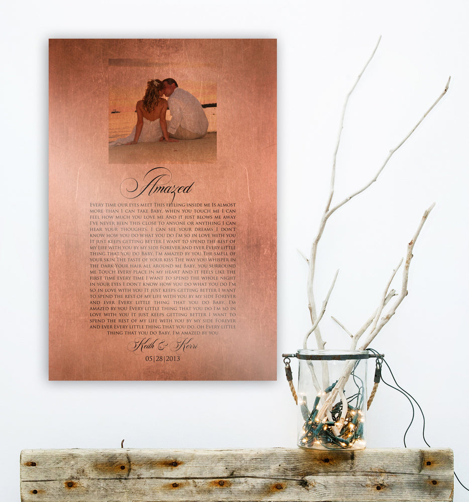 Copper Gift, Photo on Copper, 7th Anniversary, Song on Copper, Anniversary Photo, 7 Year Anniversary Gift, Our Song on Metal, 7th year Gift