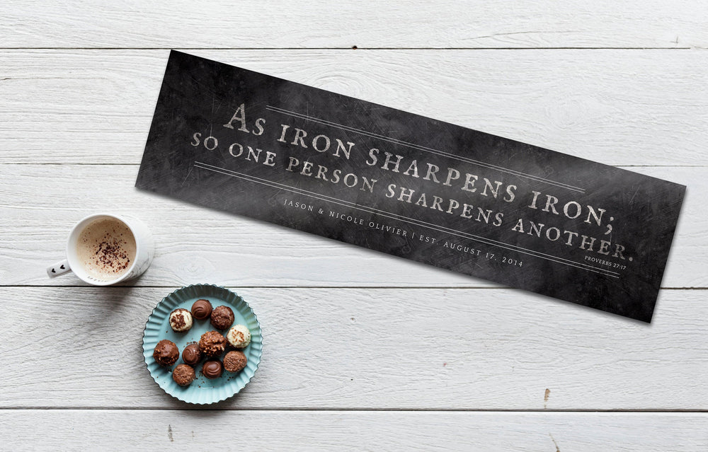 Iron Sharpens Iron Sign, 6th Anniversary, Custom Wedding Gift, Religious Wedding gift, Gift Metal Print, Prov 27:17, Iron Anniversary Gift