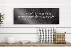 Iron Anniversary Gift, Iron Sharpens Iron Sign, 6th Anniversary, Custom Iron Gift, Religious Wedding gift, Prov 27:17, Iron Anniversary Gift