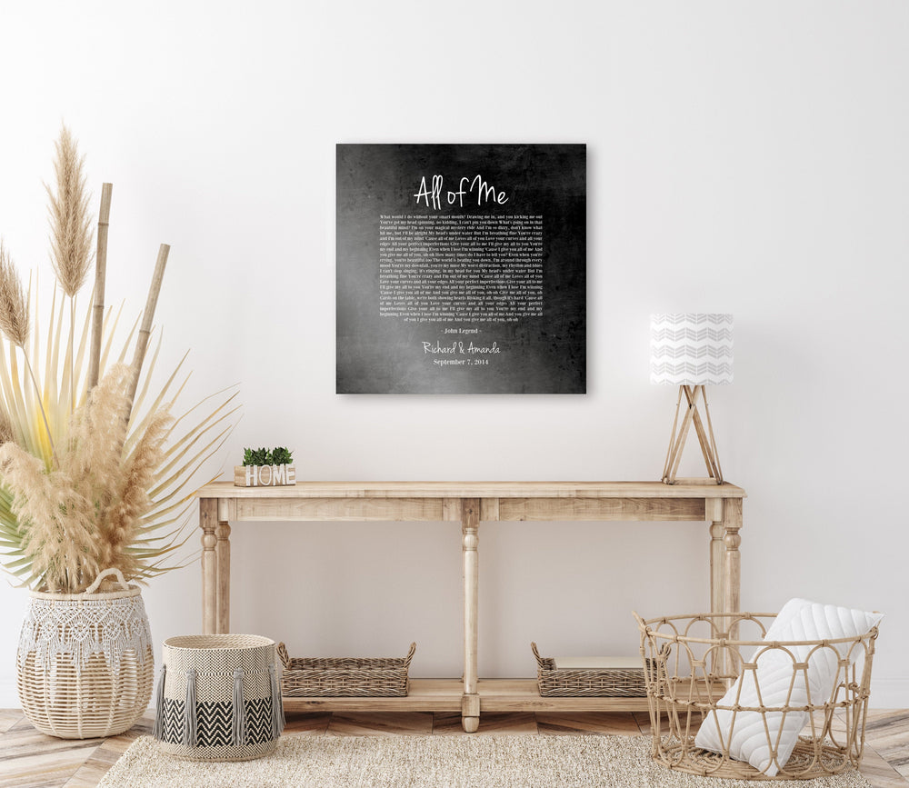 6 Year Iron Gift, 1st Dance on Iron, Song Lyric on Iron, Iron Anniversary Gift , Wedding Song Print, On Metal, 6th Anniversary Gift, for Him