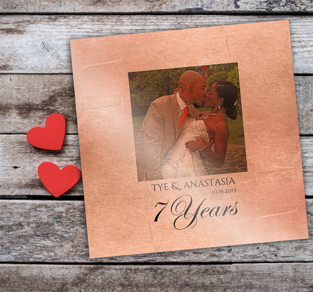 7th Wedding Anniversary Gift, Gift on Copper, 7 Year Gift, Photo Gift for Him, 7 Year Anniversary for Him, Gift for Her, Copper Photo Gift
