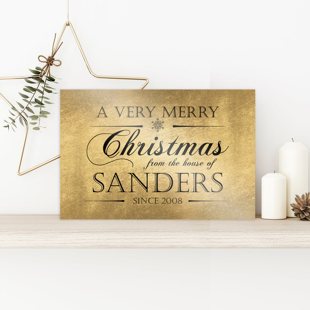 Personalize Holiday Sign, Family Sign, Family Christmas Sign, Christmas wall decor, Established sign, Christmas Gift, Rustic Gold, Name Sign