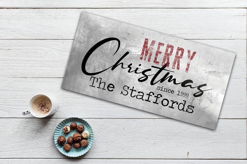 Rustic Holiday Sign, Chirstmas wall decor, Personalized Holiday Sign, Establsihed Sign, Family Sign, Name Sign, Christmas Wall decor, Art
