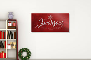 Snowflake Christmas Sign, Christmas  wall decor, Personalized Holiday Sign, Establsihed Sign, Family Sign, Name Sign, Merry Christmas Sign