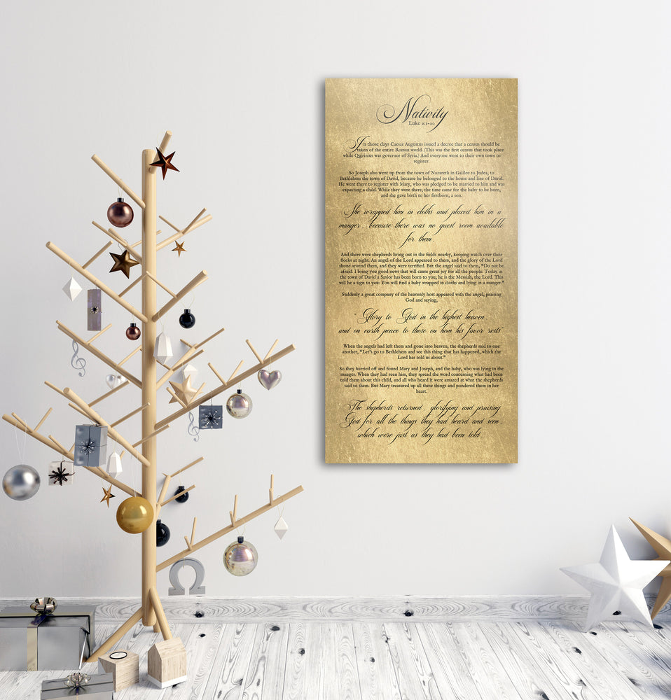 Christmas Story, Sign, Nativity Art, Christmas Scripture Sign, Christian, Christmas Sign, Luke 2, Birth of Christ Story, Nativity Scripture