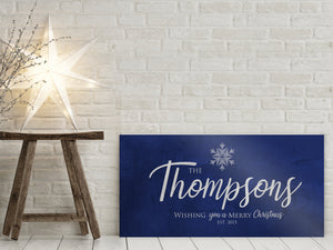 Last Name Sign, Snowflake Christmas Sign, Blue Christmas decor, Personalized Sign, Establsihed Sign,  Name Sign, Merry Christmas Sign