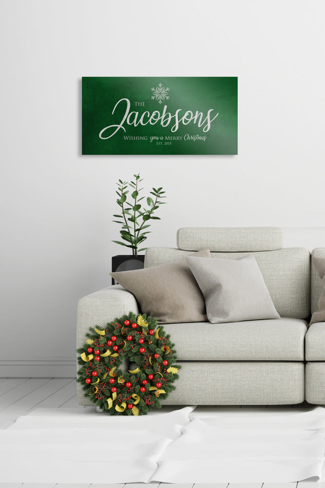 Merry Christmas Sign, Last Name Sign, Snowflake Sign, Green Christmas decor, Personalized Sign, Establsihed Sign, large holiday art, Rustic