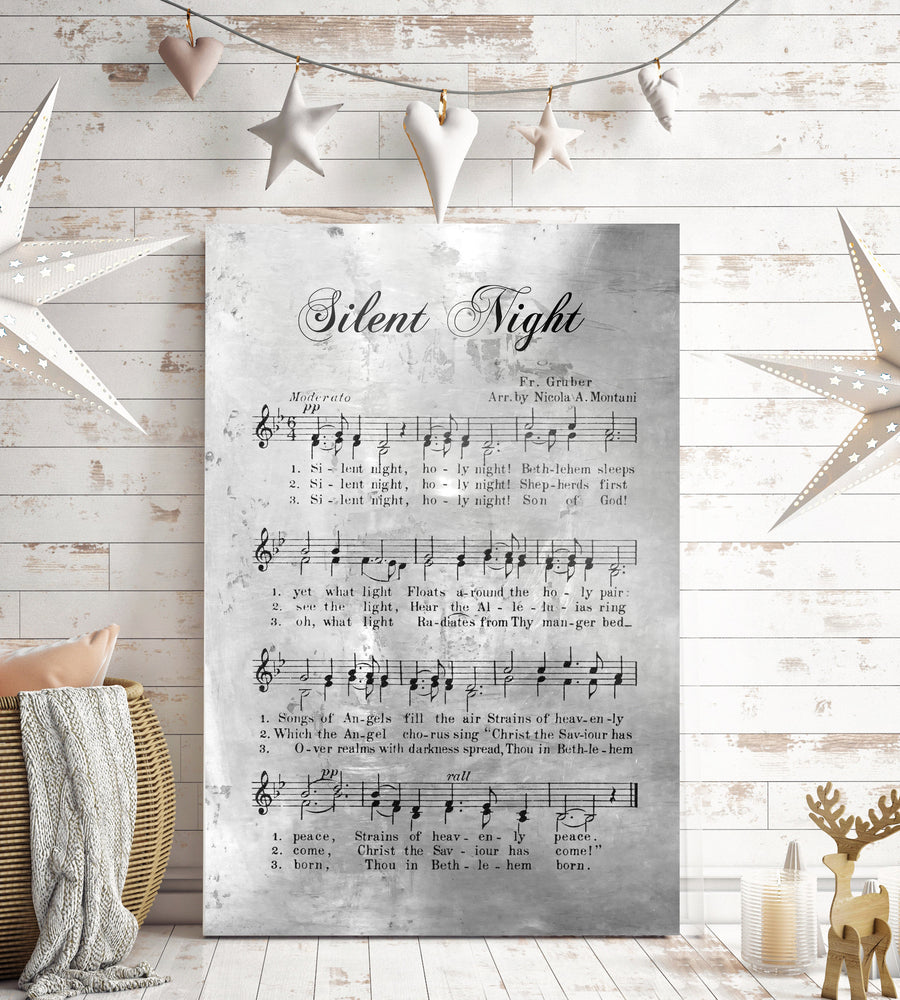 Silent Night, Rustic Christmas Decor, Sheet music Gift, Farmhouse Christmas, Gift for chior, Religious Gift, sign, Metal Christmas Sign