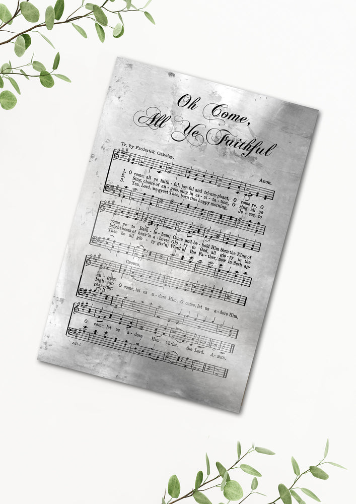 Oh Come All Ye Faithful, Sheet Music, Rustic Christmas Decor, Farmhouse Christmas, Gift, Religious Gift, sign, Metal Christmas Sign, Metal