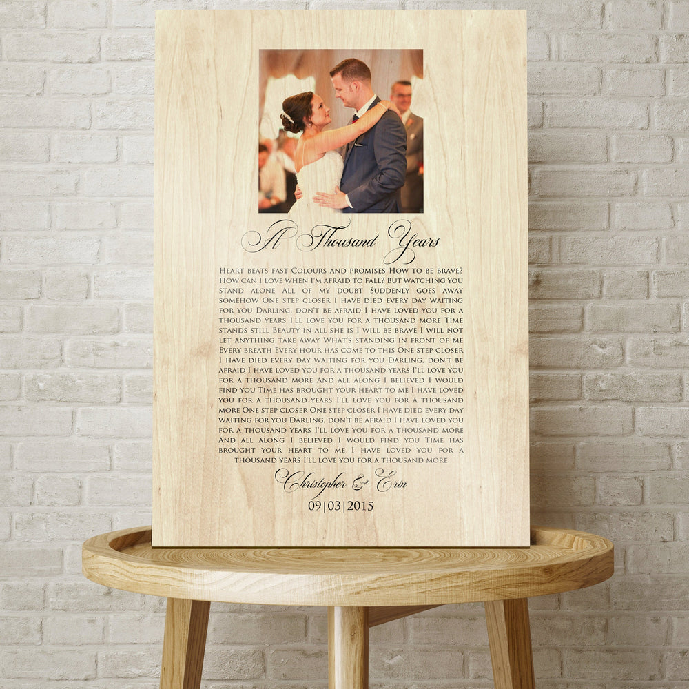 Song with Photo, Photo on Wood, Personalized, Lyrics on Wood, Wood, 5 Year, 5th Wedding Anniversary, Gift on Wood, Wedding Anniversary, Gift