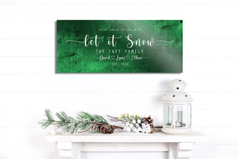 Christmas sign, Let it Snow, Couple Gift, Tin Gift, 10 Year, Personalized, Tin gift, With name, Holiday Sign, Est Sign, Wedding Gift, Winter