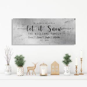 Family Christmas sign, Let it Snow, Couple Gift, Tin Gift, 10 Year, Personalize, Tin gift, Name, Anniversary gift, Est Sign, Wedding Gift,