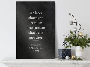 As Iron Sharpens Iron, Monogrammed Gift, Scripture Sign, Proverbs 27:17, Gift for 6th, Anniversary, 6 Year Wedding, Gift for Couple, Gift
