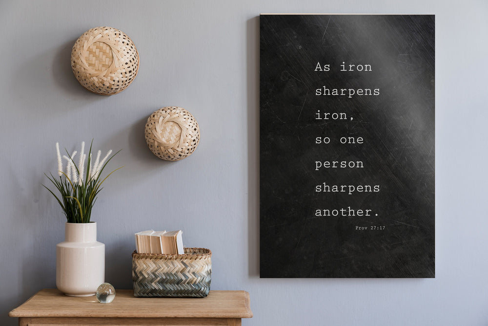 As Iron Sharpens Iron, Christian, Bible Verse, for, Him, Scripture, Sign, Proverbs 27:17, Gift for 6th, 6 Year Wedding, for Couple, Gift