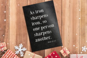 Proverbs 27:17, As Iron Sharpens Iron, Christian, Bible Verse, for, Him, Scripture, Sign, Subway, 6 Year Wedding, for Couple, Gift