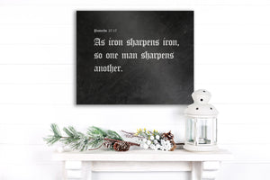 As Iron Sharpens Iron, Iron Gift, Monogrammed, Metal Sign, Scripture Sign, Gift for him, Personalized, 6 Year Anniversary, Proverbs 27:17,