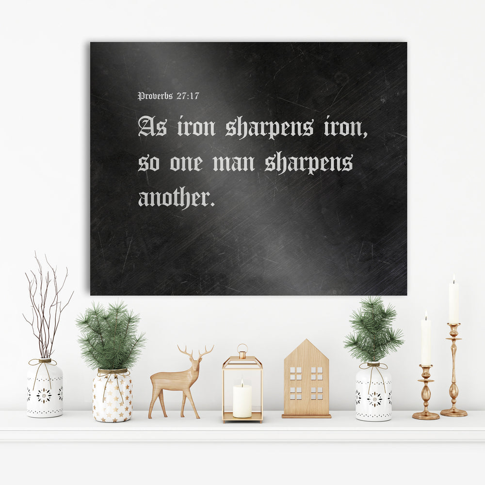 Iron Sharpens Iron, Iron Gift, Old English, Metal Sign, Scripture Sign, Gift, for him, for men, for husband, 6 Year Anniversary, Prov 27:17,