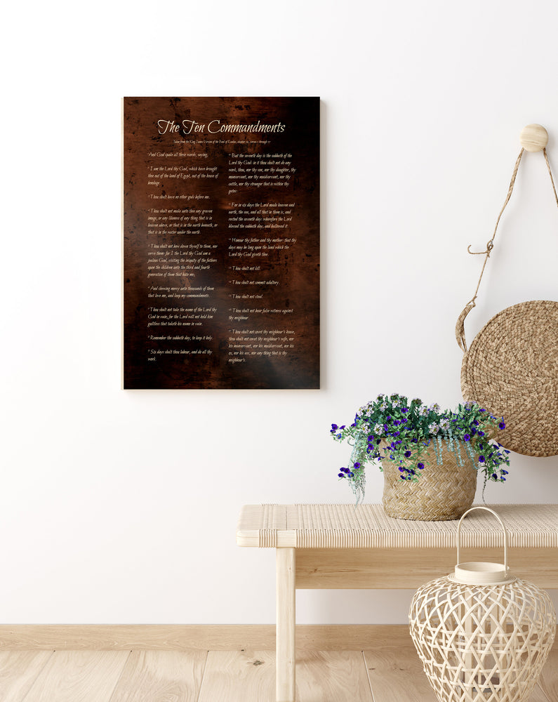 The Ten Commandments, Bronze, 8th Anniversary,  Burnished, Metal Print, For Him, 8 Year Gift, Christian, Gift, Scripture, Sign, Exodus 20